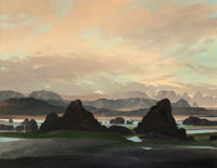 David Caton (American, b. 1955) Formations in the Distance Oil on canvas 48-1/4 x 66-1/4 inches (