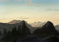 David Caton (American, b. 1955) Sunrise in the Canyon Oil on canvas 48-1/4 x 66-1/4 inches (122.6