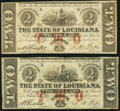 Obsoletes By State:Louisiana, Baton Rouge, LA- State of Louisiana $2 Feb. 24, 1862 Cr. 2, Two Examples Very Fine or Better.. ... (Total: 2 notes)
