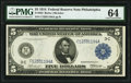 Fr. 852 $5 1914 Federal Reserve Note PMG Choice Uncirculated 64