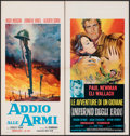 "Movie Posters:War, A Farewell to Arms & Other Lot (Gold, R-1960s). Folded, Very Fine. Italian Locandinas (4) (12.25"" X 25.25"" - 13"" X 27.5"") & ... (Total: 5 Items)"