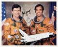 Explorers:Space Exploration, Space Shuttle Columbia (STS-1) Crew-Signed Color Photo with Novaspace COA (Young). ...