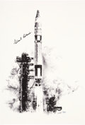 """Explorers:Space Exploration, Gemini 10: Paul Calle Limited Edition, #17/250, """"Gemini 10 Launch"""" Print, Signed by Michael Collins. ..."""