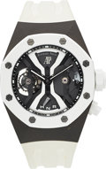 Timepieces:Wristwatch, Audemars Piguet, Royal Oak White Concept GMT Tourbillon, Titanium and Ceramic, Circa 2015. ...