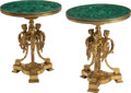 Furniture, A Pair of French Neoclassical-Style Gilt Bronze Gueridons with Malachite Tops. 28 x 23-1/2 inches (71.1 x 59.7 cm) (each). ... (Total: 2 Items)