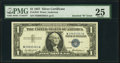 "Error Notes:Miscellaneous Errors, Inverted ""W"" in Upper Right Serial Number Block Prefix Error Fr. 1619 $1 1957 Silver Certificate. PMG Very Fine 25.. ..."