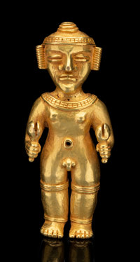 A Large Diquis Gold Figure