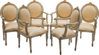 A Set of Six Italian Neoclassical Partial Gilt and Painted Wood Armchairs 40-1/2 x 24-1/2 x 19 inches (102.9 x 62.2 x 48...