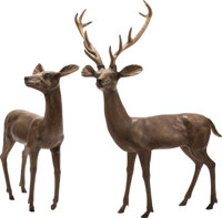 A Pair of Large Austrian Patinated Bronze Antelope Figures 54 x 23 x 36 inches (137.2 x 58.4 x 91.4 cm) (each)