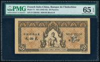 French Indochina Banque de l'Indo-Chine 20 Piastres ND (1942-45) Pick 71 PMG Gem Uncirculated 65 EPQ