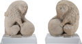 Carvings, A Pair of Northern Italian Carved Marble Lions with Sphere Figures, 18th-19th century. 24-1/4 inches (61.6 cm) high on 5 inc... (Total: 2 Items)