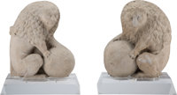 A Pair of Northern Italian Carved Marble Lions with Sphere Figures, 18th-19th century 24-1/4 inches (61.6 cm) high on 5...
