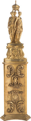 A Ferdinand Barbedienne Louis XV-Style Figural Three Graces Gilt Bronze Clock After Germain