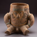 Pre-Columbian:Ceramics, A Jama-Coaque Vessel with Seated Male Figure Modeled in High Relief ...