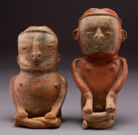 Two Cauca (Colombia) Hollow Earthenware Figures... (Total: 2)