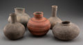 American Indian Art:Pottery, Five Mississippian Pottery Vessels... (Total: 5 )