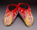American Indian Art:Beadwork and Quillwork, A Pair of Seneca Beaded Hide Moccasins...