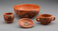 American Indian Art:Pottery, Four Hopi Black-On-Red Vessels...