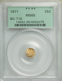 1871 25C Liberty Octagonal 25 Cents, BG-715, Low R.6, MS65 PCGS. PCGS Population: (8/5). NGC Census: (0/3). ...(PCGS# 10...