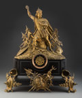 Clocks & Mechanical, A Continental Gilt Bronze and Marble Figural Mantle Clock, late 19th century . 27 x 22 x 7-3/4 inches (68.6 x 55.9 x 19.7 cm...