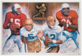 Football Collectibles:Photos, Heisman Trophy Winners Multi-Signed Poster....