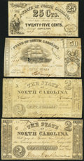 Obsoletes By State:North Carolina, Raleigh, NC- State of North Carolina 25¢; 50¢; $2 (2) 1861-63 Good or Better.. ... (Total: 4 notes)