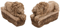 A Pair of Italian Carved Marble Recumbent Lions 7-1/2 x 12 x 4-1/2 inches (19.1 x 30.5 x 11.4 cm) (each)  ... (Total: 2...