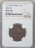 1773 1/2 P Virginia Halfpenny, Period MS61 Brown NGC. NGC Census: (14/95). PCGS Population: (11/237). CDN: $525 Whsle. B...