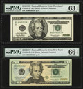 Fr. 2085-D* $20 1999 Federal Reserve Note. PMG Choice Uncirculated 63 EPQ; Fr. 2099-B* $20 2017 Federal Reserve Note. PM...
