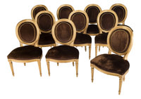 Ten Louis XVI-Style Giltwood and Velvet Oval Back Side Chairs, 1996 36-1/2 x 24 x 22-1/2 inches (92.7 x 61.0 x 57.2 cm)...