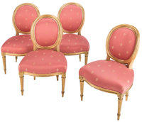 A Set of Four French Louis XVI Giltwood and Silk Damask Side Chairs, circa 1775 20-1/2 x 23-1/2 x 36-1/2 inches (52.1 x...