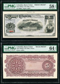 Colombia Banco Union 5 Pesos ND (1888) Pick S867p1; S867p2 Front and Back Proofs PMG Choice About Unc 58 EPQ; Choice Unc...