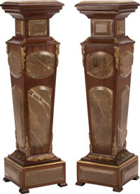 A Pair of Italian Louis XVI-Style Gilt Bronze Mounted Hardwood, and Marble Pedestals 45-1/2 x 12 x 12 inches (115