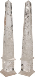 Furniture, A Pair of Large Continental Rock Crystal Obelisks. 23 x 4 x 4 inches (58.4 x 10.2 x 10.2 cm) (each). ... (Total: 2 Items)