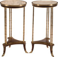 Furniture, A Pair of French Neoclassical-Style Marble and Gilt Bronze Tables. 29-1/2 x 15 inches (74.9 x 38.1 cm) (each). ... (Total: 2 Items)