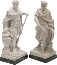 Two Italian Carved Carrara Marble Figures of Roman Generals on Painted Wood Bases 27 x 12 x 9 inches (68.6 x 30.5