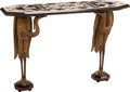 Furniture, An Italian Gilt Wood Figural Console Table with Pietre Dure Top. 36-1/2 x 55-1/2 x 18 inches (92.7 x 141.0 x 45.7 cm). ...
