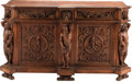 Furniture, An Italian Renaissance-Style Carved Hardwood Credenza, 19th century . 43 x 74 x 28 inches (109.2 x 188.0 x 71.1 cm). ...