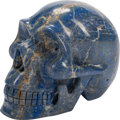 Carvings, A Continental Carved Lapis Lazuli Figure of a Skull. 6 x 5-1/2 x 7-1/2 inches (15.2 x 14.0 x 19.1 cm). ...