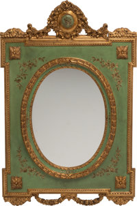 An Italian Neoclassical-Style Partial Gilt and Painted Mirror 60 x 39-1/2 x 3 inches (152.4 x 100.3 x 7.6 cm)