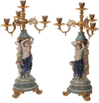 A Pair of German Gilt Bronze and Porcelain Figural Four-Light Candelabras 28 x 14 inches (71.1 x 35.6 cm) (each)