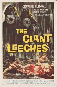 """Attack of the Giant Leeches (American International, 1959). Folded, Very Fine. One Sheet (27"""" X 41""""). Alternat..."""