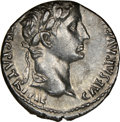 Ancients:Roman Imperial, Ancients: Augustus (27 BC-AD 14). AR denarius (17mm, 3.66 gm, 1h). NGC Choice AU 4/5 - 4/5....