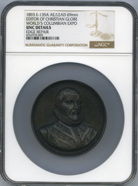 1893 World's Columbian Exposition, Editor of Christian Globe, Eglit-135A, AE/Lead 69mm -- Edge, Repaired -- NGC Details...
