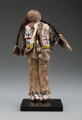 American Indian Art:Beadwork and Quillwork, A Plains Beaded Hide and Canvas Male Doll...