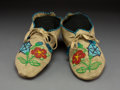 American Indian Art:Beadwork and Quillwork, A Pair of Plateau Beaded Hide Moccasins...