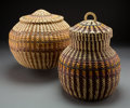 American Indian Art:Baskets, Two Coushatta Lidded Jars ... (Total: 2 )