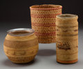 American Indian Art:Baskets, Three Makah Twined Basketry Items ... (Total: 3 )