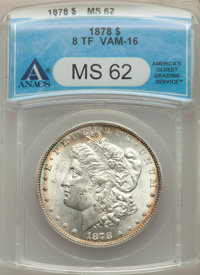 1878 8TF $1 Tripled Stars, VAM-16, MS62 ANACS. NGC Census: 0 in 62, 0 finer (4/20). PCGS Population: 36 in 62, 105 finer...