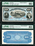 Argentina Banco Muñoz & Rodriguez Ca. 10 Pesos 30.6.1883 Pick S1763p1; S1763p2 Front and Back Proofs PMG Choi...
